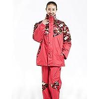 LVZAIXI Pantalones de lluvia impermeables de camuflaje Traje espesantes de motocicleta engrosamiento ( Color : Rojo , Tamaño : XXXXL )