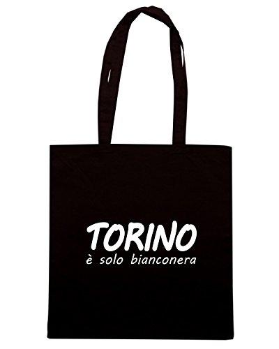 T-Shirtshock - Borsa Shopping T0909 torino e solo bianconera calcio ultras Nero