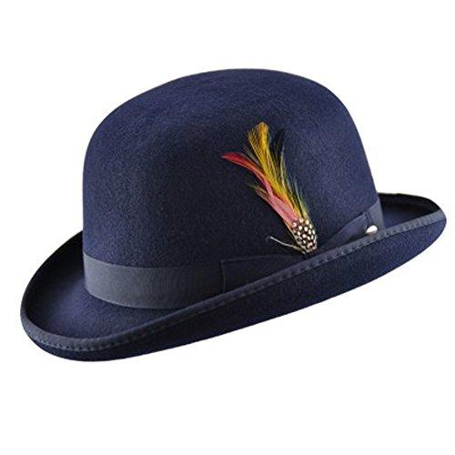 MAZ Hochwertiger Bowlerhut mit Feder, harte Oberseite, 100 % Wolle, mit Satin ausgekeidet Gr. Small, navy