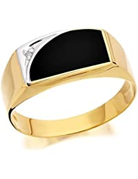 F. Hinds Mens Jewellery 9ct Yellow Gold Gentleman's Diamond Set Onyx Signet Ring