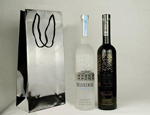 Geschenkidee Belvedere + Belvedere Unfiltered in schicker Lacktüte | Luxus Doppelpack | je 40%, 0,7 Liter