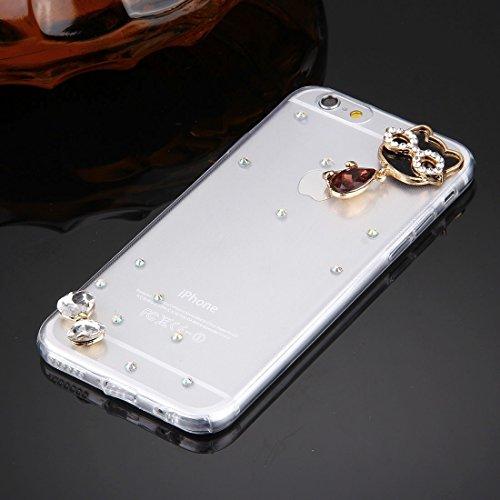 GHC Cases & Covers, Für iPhone 6 u. 6s Diamant verkrustete Gläser Katze-Perlen-Bell-Muster weiche TPU schützende Fall-rückseitige Abdeckung ( SKU : IP6G5600N ) IP6G5600A