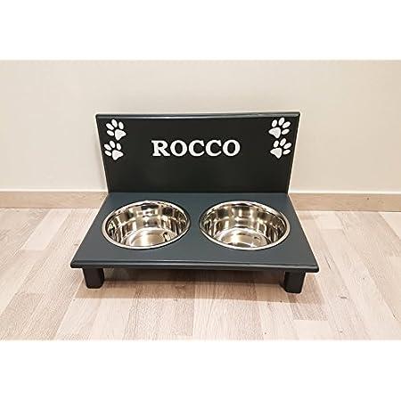 Futternapf / Hundenapf für Ihren Vierbeiner, tolle Futterbar mit 2 Edelstahlnäpfen mit je 1500 ml. Handgefertigtes Hundezubehör und Tierbedarf. Lackierung in anthrazit mit Wunschname! (35P)