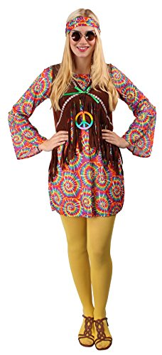 Hippie Kostüm-Set in Bunt für Damen | Größe: 44 / 46 | Shirt & Halskette | Flower-Power Verkleidung für Karneval & Fasching | Damen-Kostüm mit Batik-Muster | Für die wilde 70-er Jahre Motto-Party