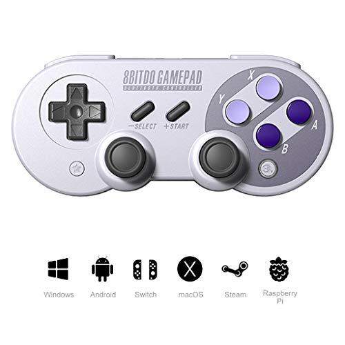 WLPT Gamecontroller, 8Bitdo SF30 Pro Drahtloser Bluetooth-Controller mit Joysticks Rumble Vibration USB-Kabel Gamepad Kompatibel mit Windows Android MacOS Nintendo Switch,Blue - 4 Unzen-raspberry