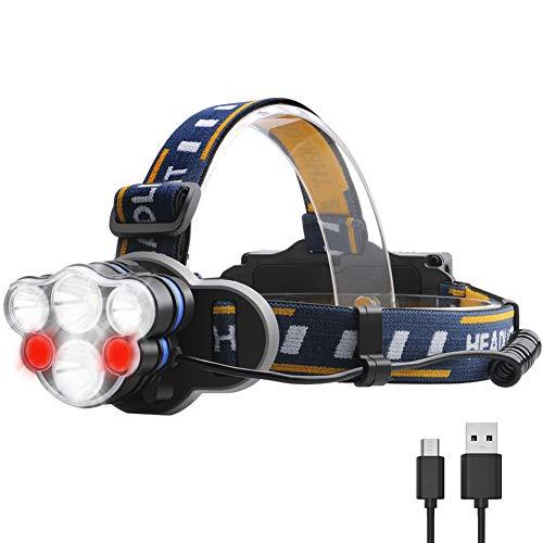 Lightsjoy LED Stirnlampe Kopflampe 12000LM 6 LED 8 Modi IPX4 Wasserdicht,USB Wiederaufladbare 90 °Winkel Einstelllbare Eingebauter Akku mit Warnleuchte,Stirnleuchte Für Retten/Camping/Angeln/Klettern