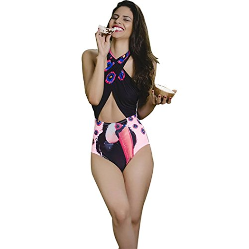 Bellelove Frauen Bademode Bikini Animals Print Halter Push-Up gepolsterte Bade Beachwear (L, Schwarz) (Damen Unten Badeanzug Animal)