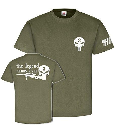 The SNIPER legend Chris KYLE USA Amerika USMC US Marine Korps Scharfschütze Navy Seals Team 3 CPO Chief Petty Officer Army - T Shirt Herren oliv #17762
