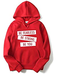 The SV Style Unisex RED Hoodie with White Print: BE Fearless BE STRONGE BE You