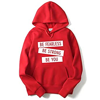 The SV Style Men's Cotton White Be Fearless Be Strong Be You Print Hoodie (Red, Small)