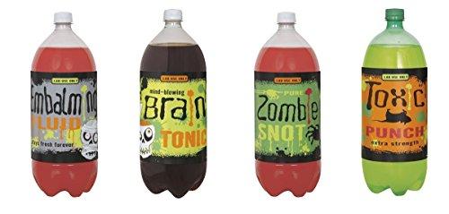 (Halloween Pop Flaschenetiketten Wein Soft Drink Soda Party Dekoration Zubehör Aufkleber Katze Spider Zombie Bottle Labels)