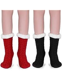 Tacobear 2 Pares Mujeres Gruesos lana calcetines de piso casa abrigados calcetines de mujeres niñas antideslizantes