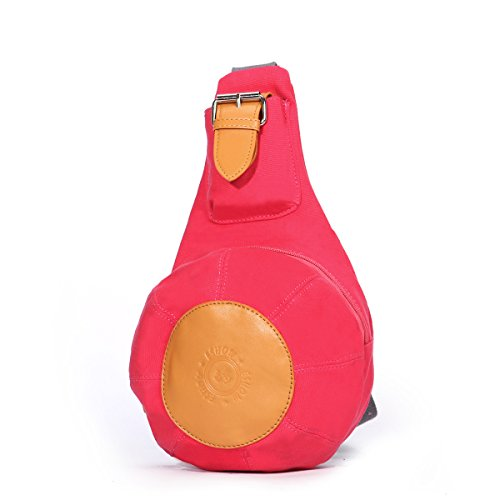 Eshow Damen Herren Canvas Freizeit Sport Brusttasche Umhägentasche Taschen, Rosa Rot