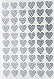 60glitzernden Silber Herz Aufkleber 20mm
