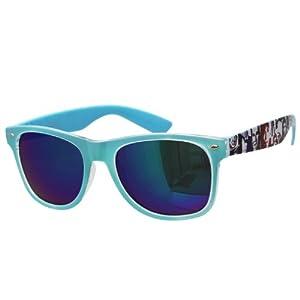 Oramics ® occhiali neri da sole Wayfarer retro della nullità chiaro e nero (chiaro pattern1 blu)