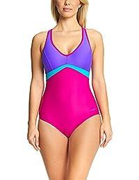 Zoggs Bañador para mujer Havana Poolside Wyomi X Back, mujer, Havana Poolside Wyomi X, Pink/Purple/Jade, 38