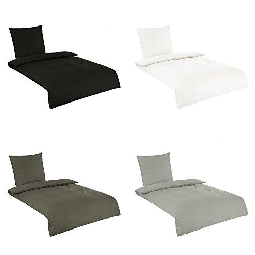 Baumwoll Bettwäsche, Uni Renforce Qualität in 4 Farben 4tlg. Garnitur 140x200 + 70x90 cm Anthrazit