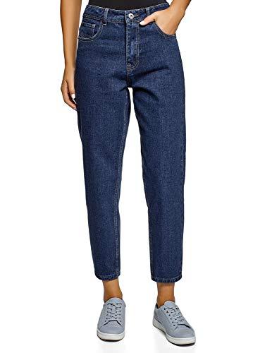 oodji Ultra Damen Jeans Mom Fit mit Hohem Bund, Blau, 29W / 32L (DE40 = EU42 = L)