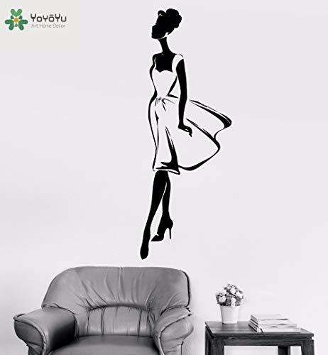 zhuziji Wall Decal Fashion Girls Beauty Salon Vinyl Wall Stickers Bedroom Decoration Accessories Home Decor Removable Mura 86x234cm Tan Teacup