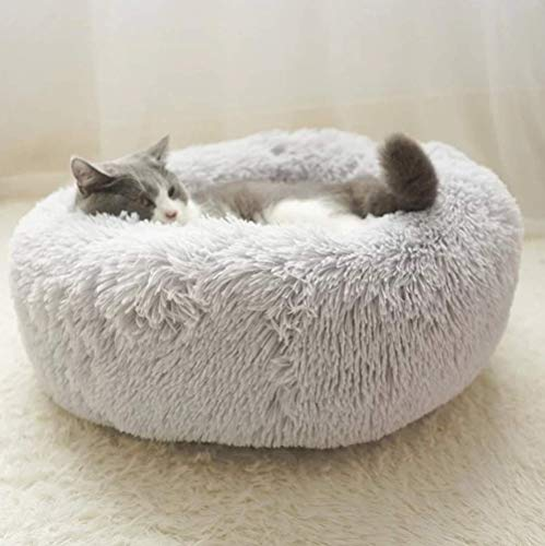 MTHDD Haustierbett für Katzen und Kleine bis Mittelgroße Hunde Kuschelig mit Weichem Kissen Rund Bett,für Haustiere Katzen und kleine Hunde,in Doughnut-Form,004,M:60 * 60 * 20cm