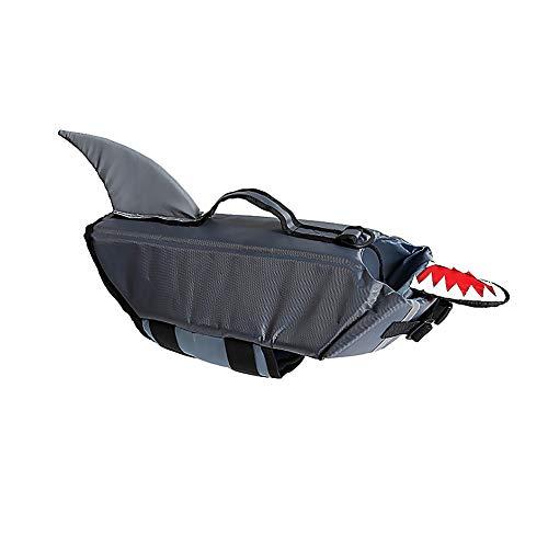 YaptheS Dog Life Jacket Grey Shark M Surfing Bootfahren Welpen Auftriebskörper Tierbedarf Reflektierende Hundeschwimmweste