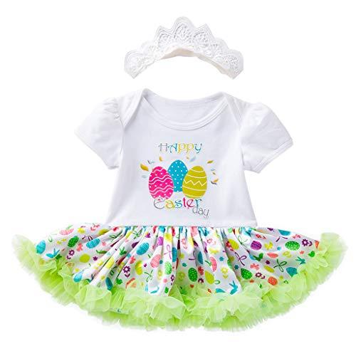 HEETEY Kleinkind Neugeborene Babys Prinzessin Easter Eggs Tutu Kleid Outfits Set Osterei Kurzarm Strampler Prinzessin Kleid Haarband