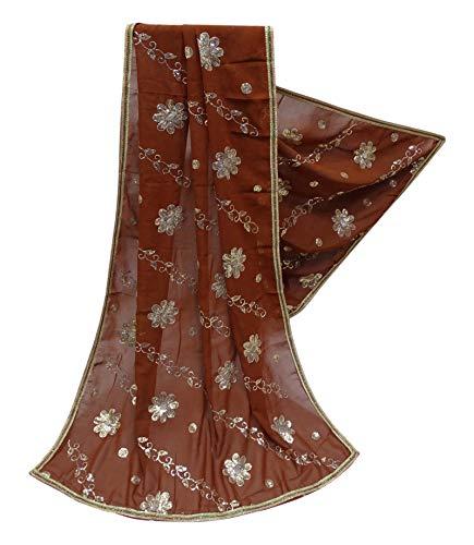 PEEGLI Vintage Indische Dupatta Pailletten Frauen Schals Georgette Mischung DIY Nähen Stoff Blumen Muster Mode Hals Lang Gestohlen Braun Designer Ethnischen Hijab -