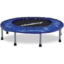 Relaxdays-Trampolín Plegable, Indoor, Fitness H x B x T: 22x 95x 95cm, Carga máxima 100kg, Color Azul y Negro