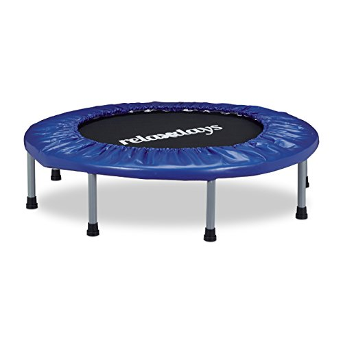 Relaxdays Trampolin faltbar, Indoor, Fitness H x B x T: 22 x 95 x 95 cm, Maximalbelastung 100 kg, blau-schwarz