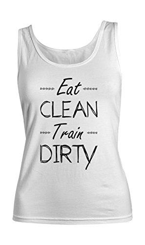 Eat Clean Train Dirty Fit Gym Sport Fitness Bodybuilding Femme Tank Top Debardeur Blanc
