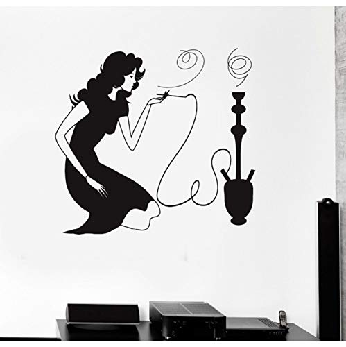 Hwhz 72 X 84 CmFrau Rauchen Shisha Shisha Rauch Arabisch Cafe Vinyl Abnehmbare Wandaufkleber Wandtattoo