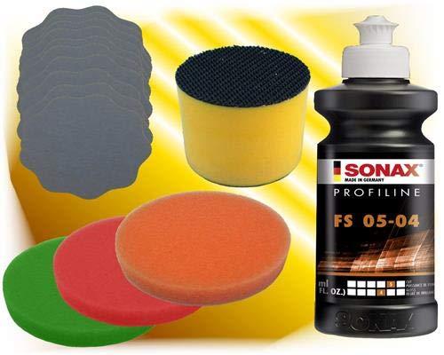 Sonax Schleifpolitur FS 05-04 +10 x Schleifblüten + Polierschwamm + Schleifklotz