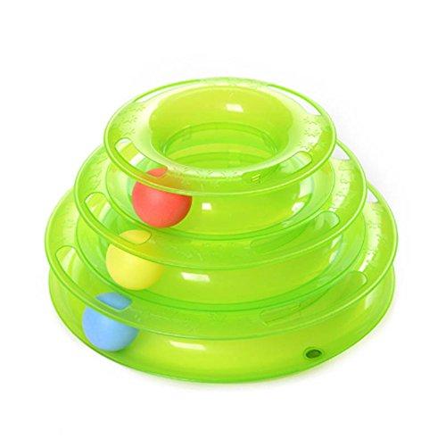 ESHOO Three Layers Pet Toys Intelligence Crazy Play Ball Tray Cat Toy (Green)