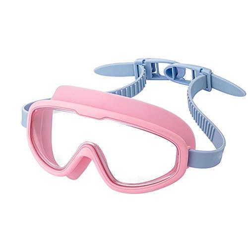 Jungen und Mädchen Farbe Vitalität Schwimmbrille Big Box wasserdicht Anti-Fog-Sonnencreme HD Vision Verstellbarer Spiegel Gürtel (Farbe : Rosa)