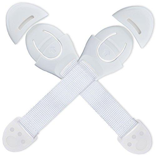 NEVEQ Kindersicherung Schrank Tür, Sicherheitschlösser für Schubladen. Türsicherung und Schranksicherung für Baby, Schrankschloss mit Klebeband - einfache Anbringung, 2 STK.