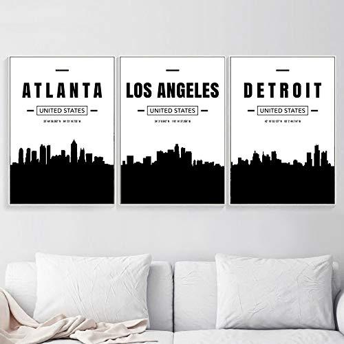 XWArtpic Paris Miami Chicago Boston Atlanta Detroit Stadtplan Wandkunst Leinwand Malerei Nordic Poster Und Drucke Wandbilder Wohnzimmer 30 * 40 cm