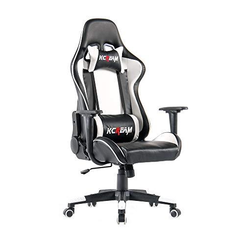 KCREAM Chaise Gaming Ergonomique,Hauteur réglable Chaise Gamer avec Repose-tête, Chaise de Bureau en Cuir PU (Blanc-03)