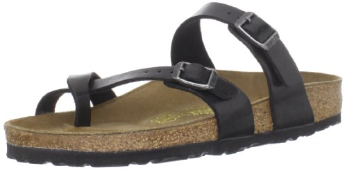 Birkenstock Womens Mayari Graceful Licorice Birko-Flor Sandals 38 EU Buckle Thong Sandal