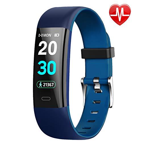 HolySpirit Fitness Armband mit Pulsmesser Wasserdicht IP67 Fitness Tracker Smartwatch Aktivitätstracker Pulsuhr (Blau)