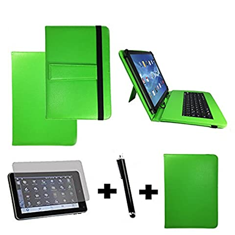 3Kit de démarrage pour Samsung Galaxy Tab A6Clavier QWERTZ Sacoche + Stylet + Film de protection–10.1pouces Clavier vert