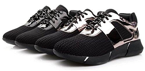 DADAWEN Chaussures de Sport/Running /Cyclisme Femme(Fille) Noir