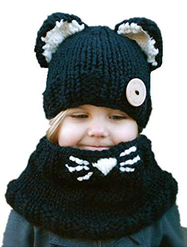 ARAUS Baby Strickmütze Mädchen Gestrickter Mütze + Schal Schalmütze Set mit Katze Ohren -