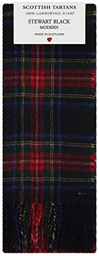 Stewart Black Modern Tartan Clan Fashion Scarf 100% Lambswool Made in Scotland Tartan Lambswool Scarf