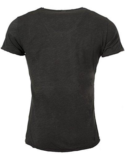 Key Largo Herren vintage Look T-Shirt mit Brusttasche tiefer V-Ausschnitt v-neck slimfit tailliert einfarbig uni T00780 Tobacco