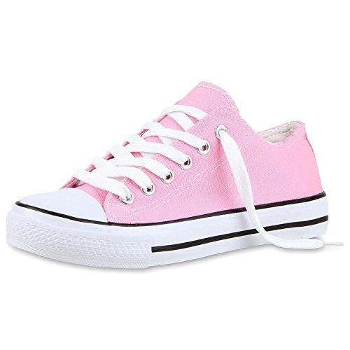 Bequeme Unisex Sneakers   Low-Cut Modell   Basic Freizeit Schuhe   Viele Farben   Gr. 36-45 Rosa