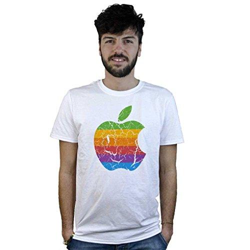 T-Shirt Apfel Vintage Apple, T-Shirt Weiß mit Logo Wirkung Verdorben - Weiß, X-Large