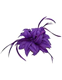 Flower Fascinator with Pointed Petals and Feather Tendrils Set on a Hair Clip.