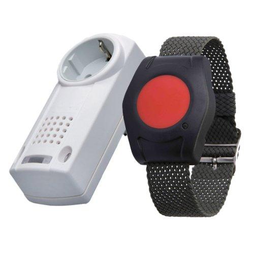 Eldat RS16: Hausnotruf mit Funk-Notruf-Armband für die Pflege von Senioren, Altenpflege und Krankenpflege, Pflegeruf-Set mit Quittierungsfunktion