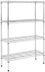AmazonBasics 4-Shelf Shelving Storage Unit, Metal Organizer Wire Rack, Chrome Silver (36L x 14W x 54H)