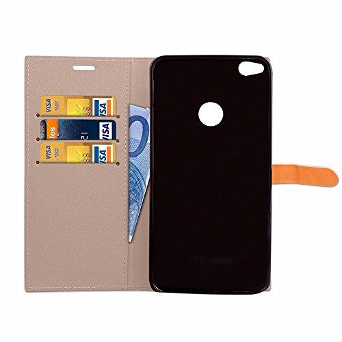 Business Style Mixed Farben Slim Design PU Ledertasche Brieftasche Stand Case [Shockproof] mit Niet Echtes Leder Gürtel & Kickstand & Card Slots für Huawei P8 Lite 2017 ( Color : Wine ) Gray